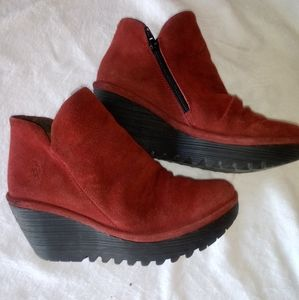 Women's Fly London Red Suede Ankle Booties 7